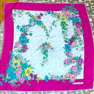 CHRISTIAN DIOR floral handrolled silk scarf
